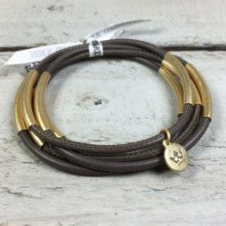 Sence CopenhagenUrban Gipsy Dark Taupe Nappa Leather Gold Bracelet