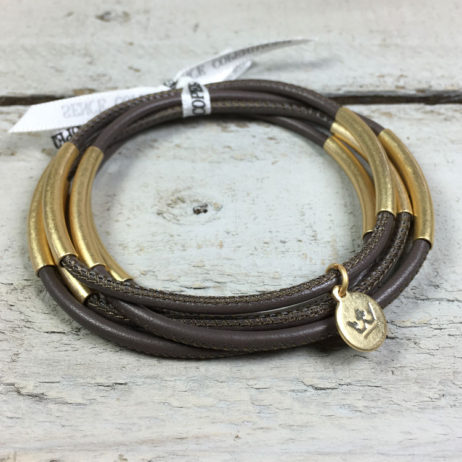 Sence Copenhagen Urban Gipsy Dark Taupe Nappa Leather Gold Bracelet