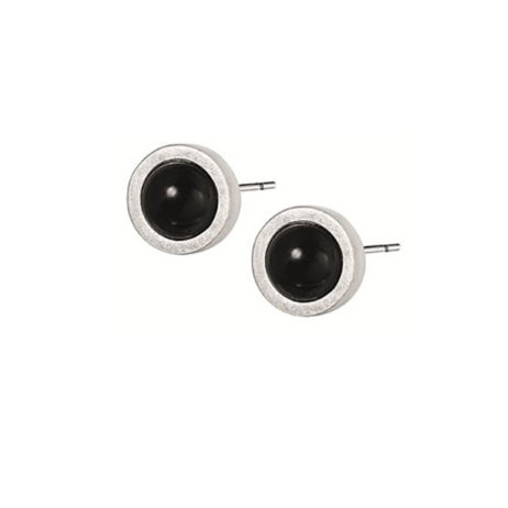 Sence Copenhagen Signature Black Agate Silver Stud Earrings