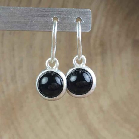 Sence Copenhagen Signature Black Agate Silver Drop Earrings