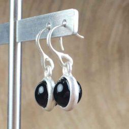Sence Copenhagen Signature Black Agate Silver Drop Earrings