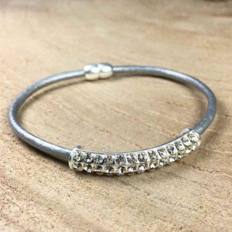 Hot Tomato Jewellery Silver Grey Crystal Bracelet