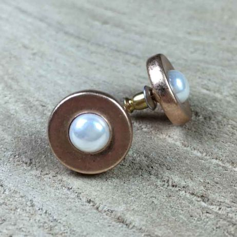 Sence Copenhagen Xmas Rose Gold Stud Earrings with Freshwater Pearls