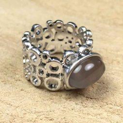 Sence Copenhagen Grey Agate Silver Ring