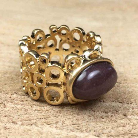 Sence Copenhagen Xmas Purple Aventurine Gold Ring