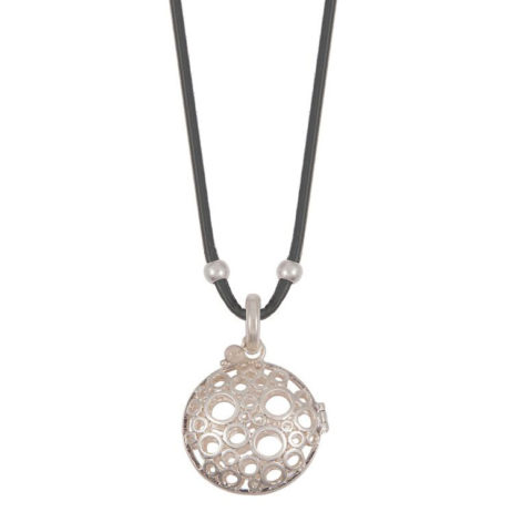 Sence Copenhagen Xmas Grey Leather Necklace with Silver Locket Pendant