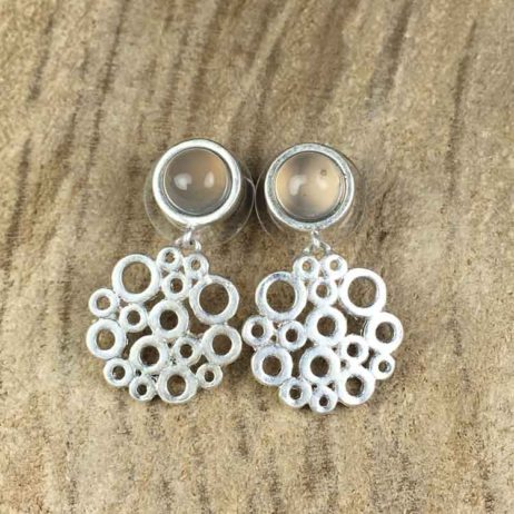 Sence Copenhagen Xmas Grey Agate Worn Silver Earrings