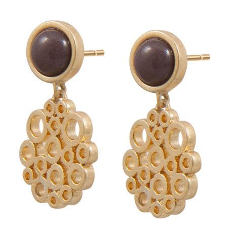 Sence Copenhagen Xmas Purple Aventurine Worn Gold Earrings