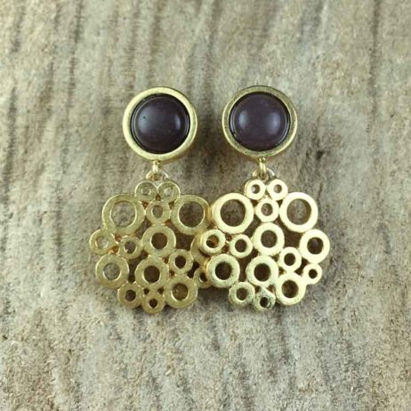 Sence Copenhagen Xmas Purple Aventurine Worn Gold Earrings