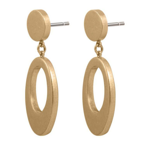 Sence Copenhagen Oval Harmony Gold Stud Earrings