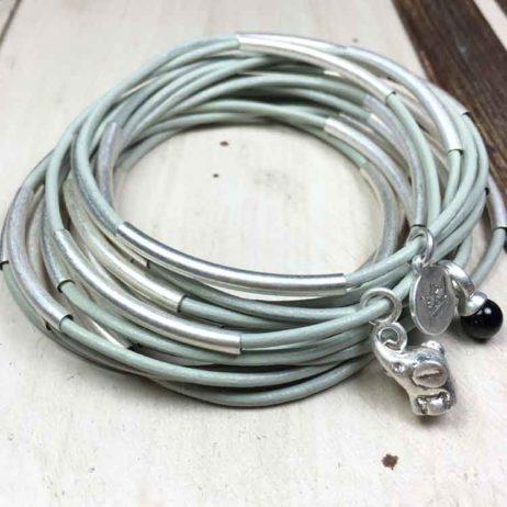 Sence Copenhagen Urban Gipsy Minimal Grey Leather Silver Bracelet