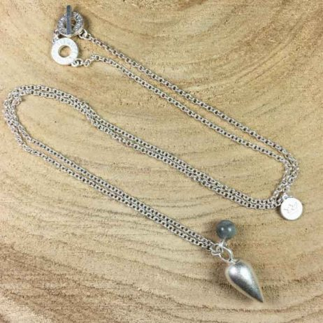 Sence Copenhagen Xmas Silver Plated Drop Pendant Necklace with Labradorite