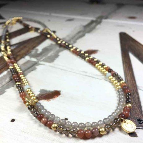 Sence Copenhagen Sweet Love Multi Stone Gold Necklace