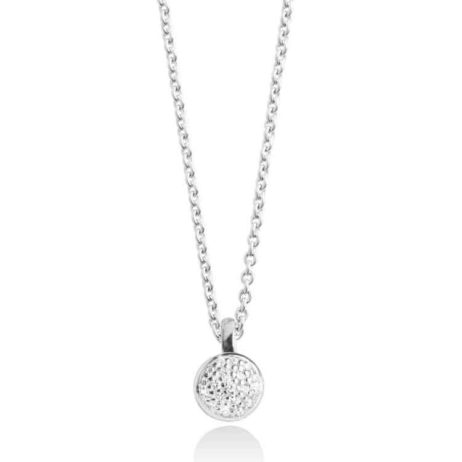 Forever Joma The Fine Sterling Silver Pave Disc Necklace