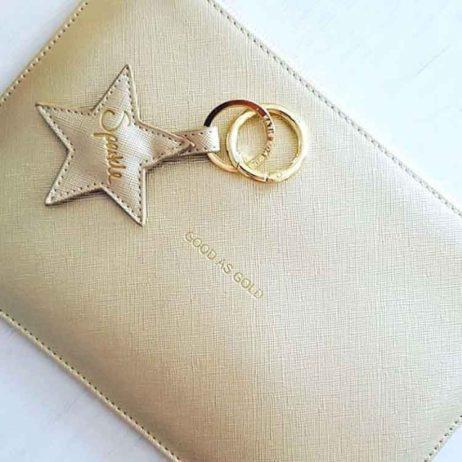 Katie Loxton Gold Sparkle Star Key Ring