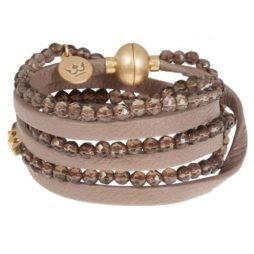 Sence Copenhagen Party Soul Smokey Quartz Taupe Leather Bracelet