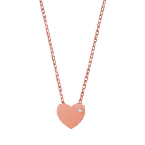 Estella Bartlett Rose Gold Plated Cubic Zironia Heart Necklace