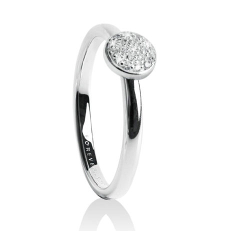 Forever Joma The Fine Sterling Silver Pave Disc Ring