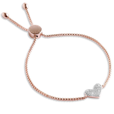 Forever Joma The Core Rose Gold Pave Heart Necklace