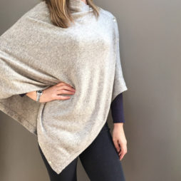 Pure Cashmere Light Grey Button Poncho