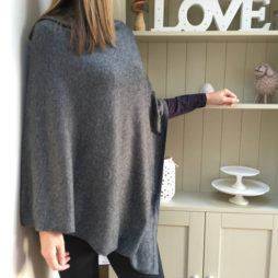 Pure Cashmere Charcoal Marl Poncho