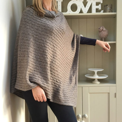 Pure Cashmere Taupe Cable Poncho