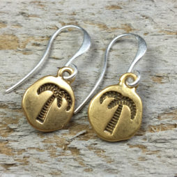 Hultquist Jewellery Palm Tree and Pineapple Bi Colour Coin Earrings