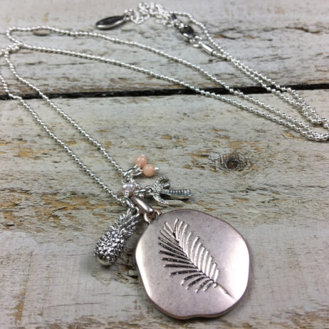 Hultquist Jewellery Pineapple and Palm Tree Long Rose Gold Necklace