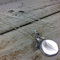 Hultquist Jewellery Pineapple and Palm Tree Long Silver Necklace