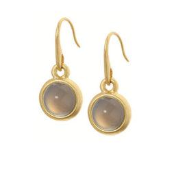 Sence Copenhagen Signature Grey Agate Worn Gold Drop Earrings