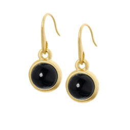 Sence Copenhagen Signature Black Agate Worn Gold Earrings
