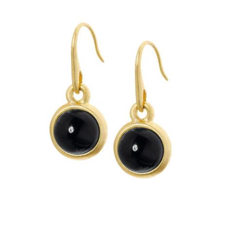 Sence Copenhagen Signature Black Agate Worn Gold Earrings