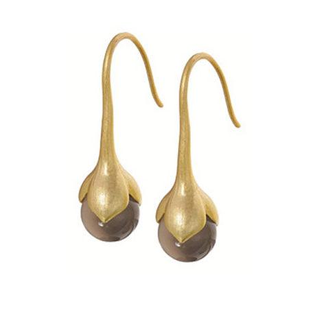 Sence Copenhagen Signature Drop Earrings Grey Agate Worn Gold