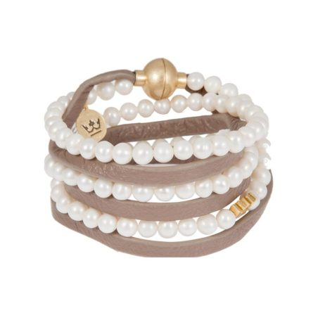 Sence Copenhagen Basics Bracelet Freshwater Pearls Taupe Leather and Gold Wrap Bracelet