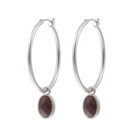 Sence Copenhagen Classic Purple Aventurine Silver Hoop Earrings