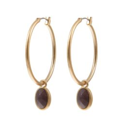 Sence Copenhagen Basics Purple Aventurine Gold Hoop Earrings