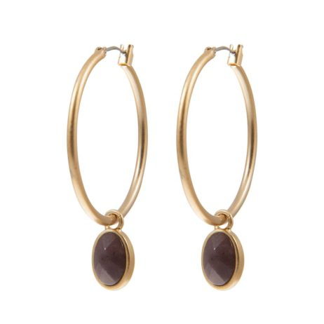 Sence Copenhagen Basics Purple Aventurine Gold Hoop Earrings - EOL