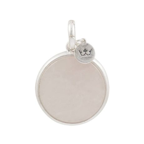 Sence Copenhagen Rose Quartz with Silver Disc Charm Drop