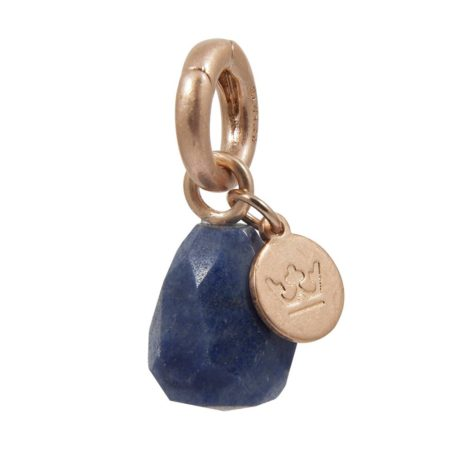 Sence Copenhagen Blue Aventurine with Rose Gold Charm Drop