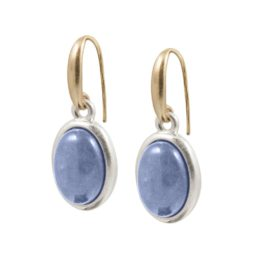 Copenhagen Gold Balance Earrings with Blue Aventurine