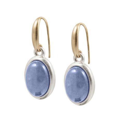 Copenhagen Gold Balance Earrings with Blue Aventurine