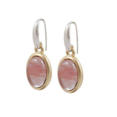 Sence Copenhagen Gold Balance Earrings with Watermelon Stone