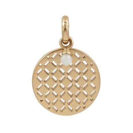 Sence Copenhagen Gold Waffle Charm with Aquamarine