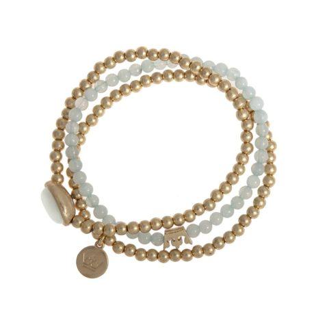 Sence Copenhagen Gold Explorer Bracelet with Aquamarine
