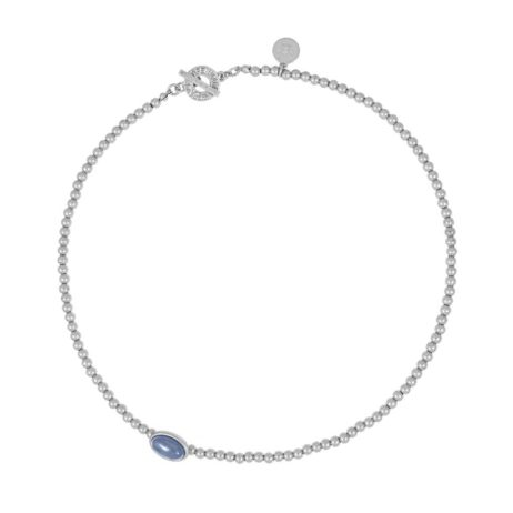 Sence Copenhagen Short Silver Explorer Necklace with Blue Aventurine