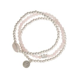 Sence Copenhagen Explorer Rose Quartz And Silver Bracelet