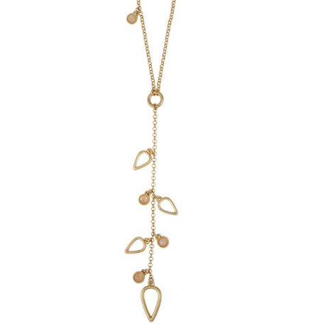 Sence Copenhagen Gold Summer Rain Necklace with Rose Quartz - EOL