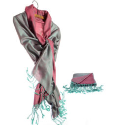 Hot Tomato Aqua and Pink Pashmina Style Wrap