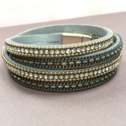 AY012 Hot Tomato Jewellery Double Wrap Grey Gold and Crystal Bracelet
