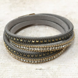 Hot Tomato Jewellery Double Wrap Grey Gold and Crystal Bracelet